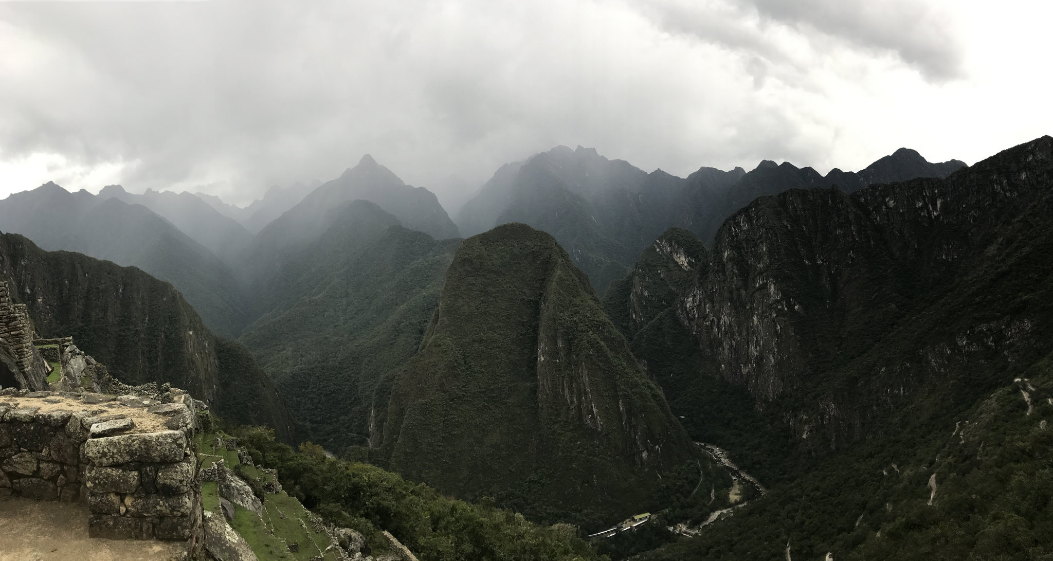 View back along the valley from Machu Picchu